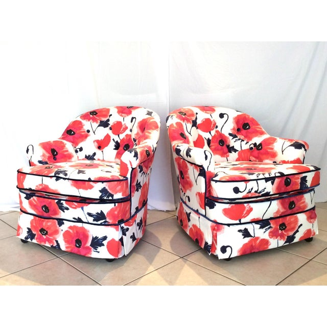 1990s 1990s Vintage Kate Spade Poppies Printed Fabric Swivel Chairs- A Pair For Sale - Image 5 of 10
