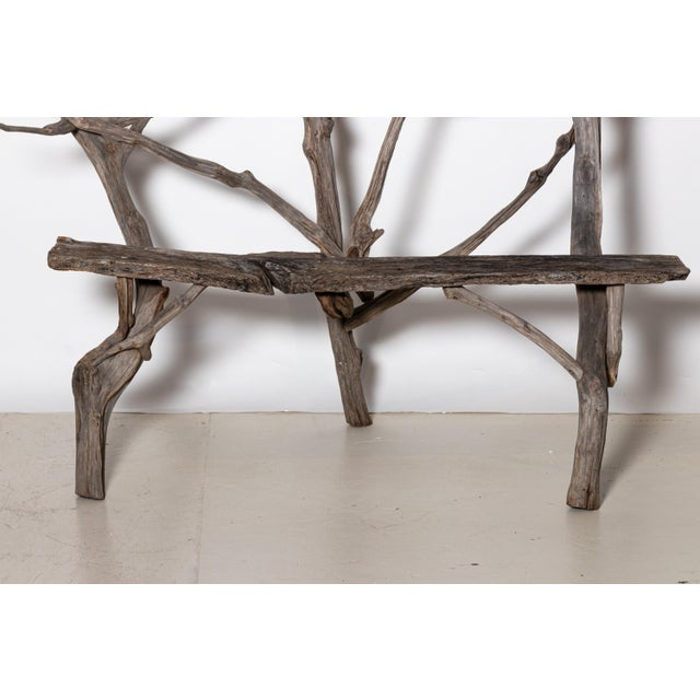Early 20th Century English Country Reclaimed Driftwood Garden Bench For Sale - Image 5 of 11