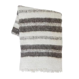 Gray Striped Wool Blanket For Sale