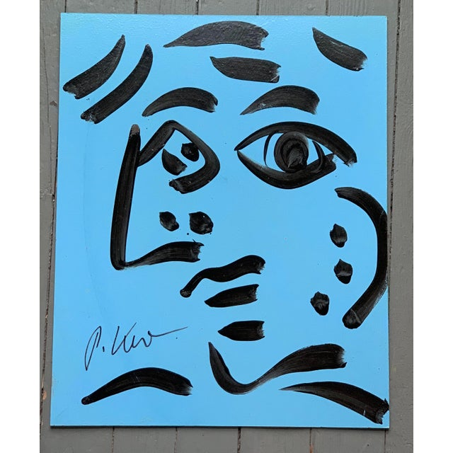 Abstract Original Vintage Signed Peter Robert Keil Abstract Painting, Blue Face For Sale - Image 3 of 3