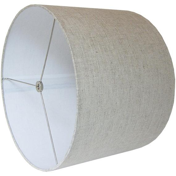 Contemporary Large Drum Lamp Shade, Natural Linen For Sale - Image 3 of 3