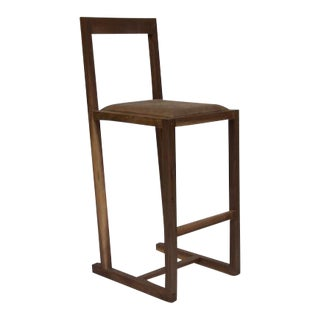 Walnut and Leather Bar Stool For Sale