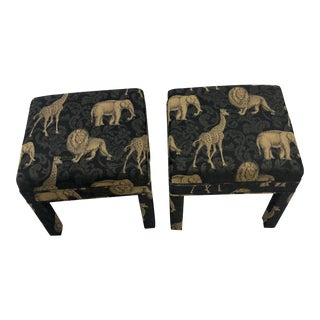 Modern Animal Motif Ottomans - a Pair For Sale