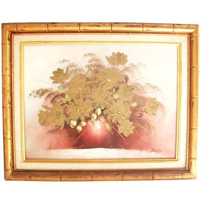 Original Floral Painting with Gold Bamboo Frame - Image 1 of 7