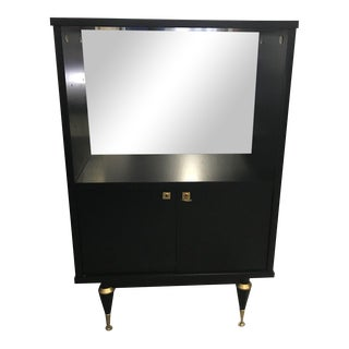 Monumental French Art Deco Ebonized Dry Bar Cabinet 1940's