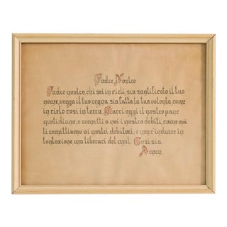Vintage Padre Nostro Hand Calligraphy Framed Art For Sale