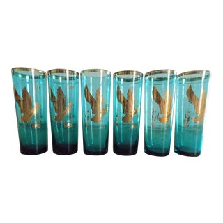 Vintage Mid-Century Turquoise & Gold Glass Game Bird Cocktail Tumblers - Set of 6 For Sale