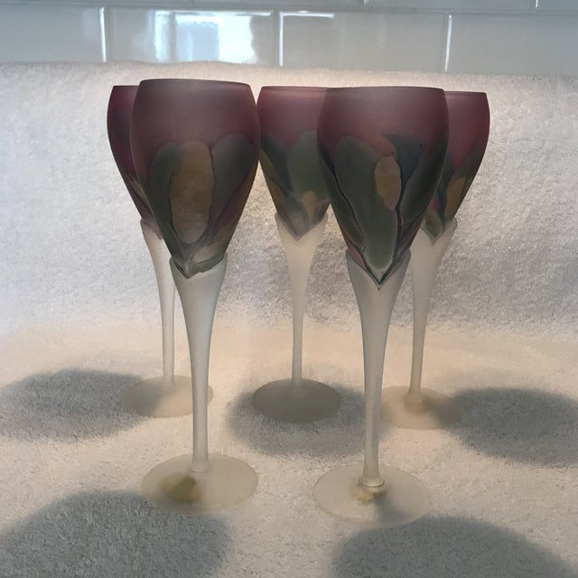 Set Of 5 very rare Rueven Art Nouveau champagne flutes. Robert Rueven Brown artist of these beautiful pieces all hand made...