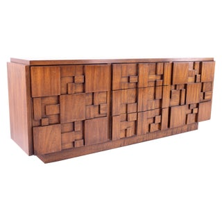 1960s Lane Mid Century Brutalist 9 Drawer Lowboy For Sale