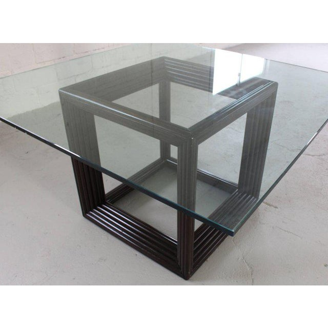 Large Square Thick Glass Top Rattan Cube Base Dining Conference Table For Sale In New York - Image 6 of 13