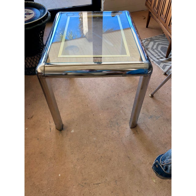 Vintage Chrome Glass Top Side Table For Sale - Image 4 of 5