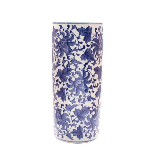 Mid 20th Century Blue & White Umbrella Stand For Sale In Los Angeles - Image 6 of 6
