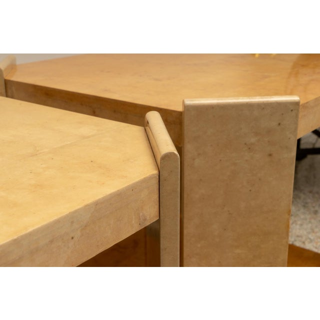 Jean Michel Frank Adolphe Chanaux Modern Goatskin End Tables - a Pair For Sale - Image 4 of 10