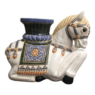 1970s Hollywood Regency Style Horse Ceramic Garden Seat