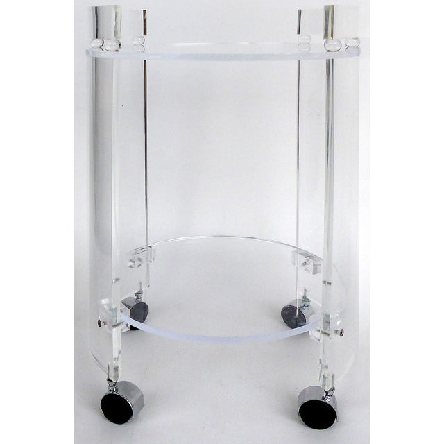 Transparent Tall Round Custom Lucite & Glass Bar Cart on Casters For Sale - Image 8 of 8