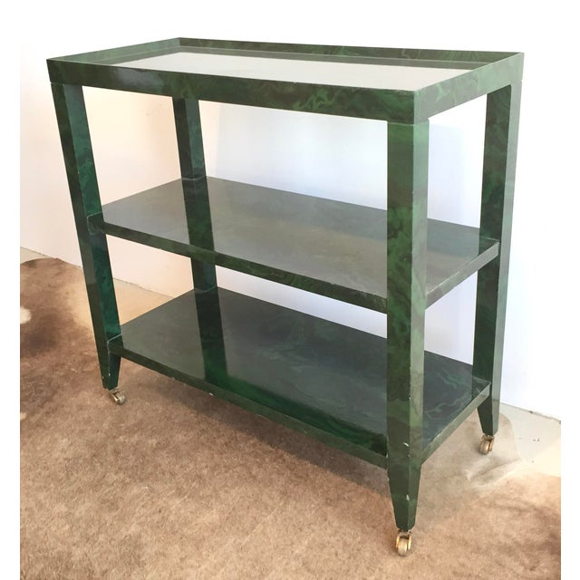 1960s Mid-Century Modern Faux Malachite Bar Cart on Wheels For Sale - Image 9 of 10
