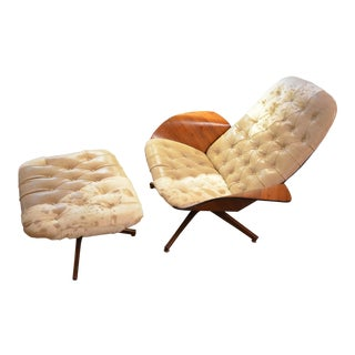 Vintage George Mulhausen for Plycraft Tufted Leather and Hide Bent Plywood Lounge & Ottoman For Sale
