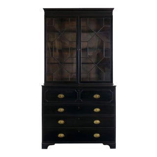 English Georgian Antique Black Butler's Secretary Desk With Bookcase, 19th Century For Sale