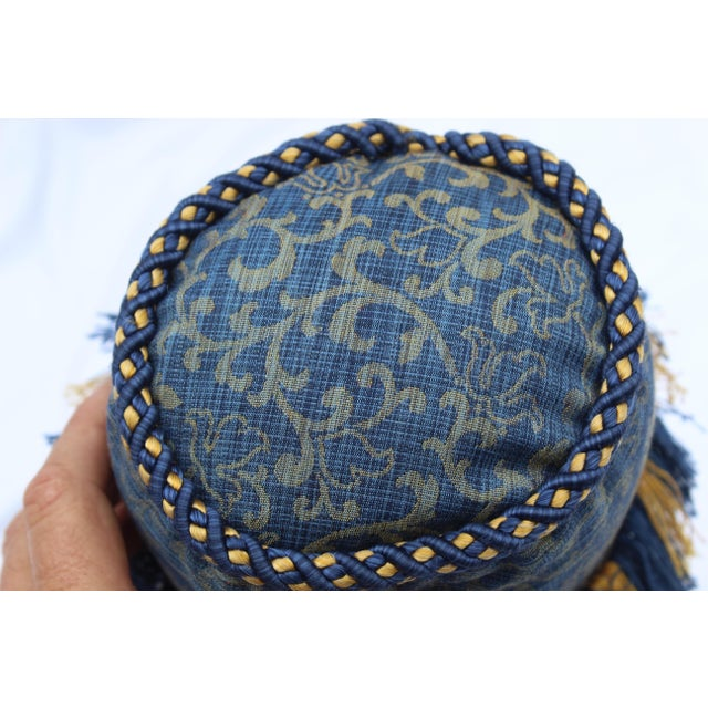 Late 20th Century Contemporary Small Small Silk and Velvet Bolster Pillow in Blue and Gold For Sale - Image 5 of 13