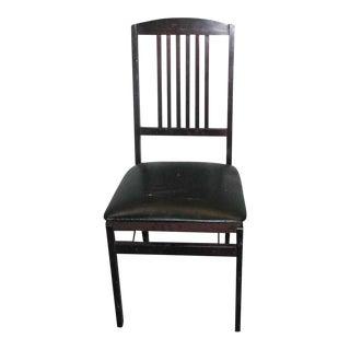 Antique Black Folding Wood Chair For Sale