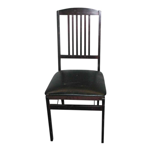 Antique Black Folding Wood Chair For Sale