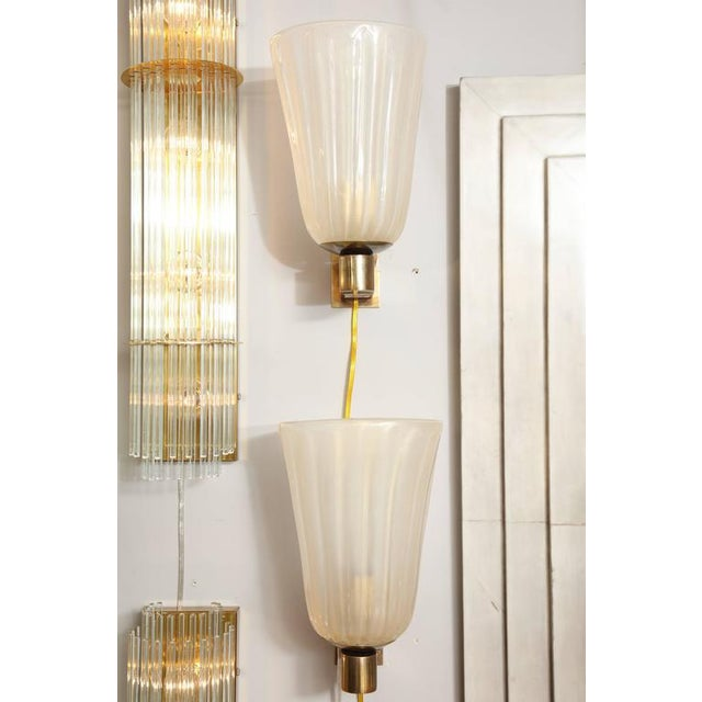 Modern Pair of Murano Glass and Brass Wall Sconces For Sale - Image 3 of 8