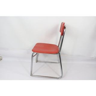Mid Century Modern Heywood Wakefield Children's Red Chrome School Chair Preview