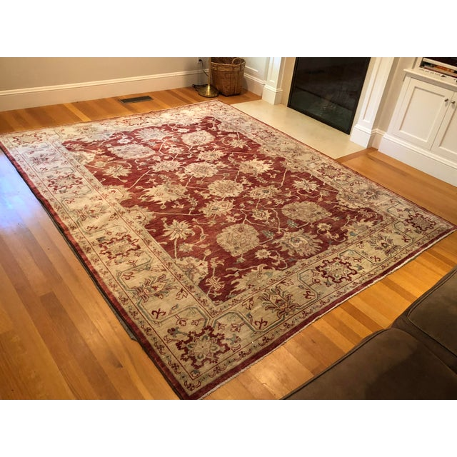 Textile Oriental Handmade Red Rug - 8' X 10' For Sale - Image 7 of 7