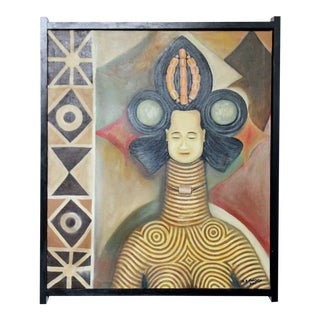 Contemporary Framed Acrylic on Canvas Painting Signed by Nigerian Artist For Sale