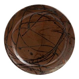 Mid Century Stoneware Charger Plate Studio Antonio Preto Peter Volkos Beatrice Wood For Sale