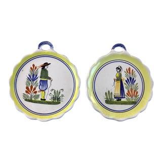 1980s Vintage Henriot Quimper Pottery France-a Pair For Sale
