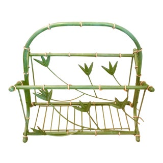 1960s Boho Chic Palm Beach Magazine Rack For Sale