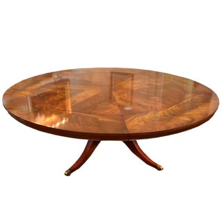 Flame Mahogany Round Pedestal Dining Table For Sale