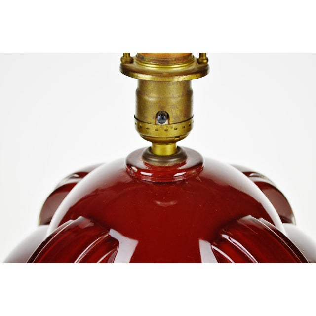 Art Deco Oxblood Reverse Painted Glass Table Lamp For Sale In Philadelphia - Image 6 of 13