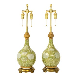 Green and White Chrysanthemum Lamps by Marbro - a Pair For Sale