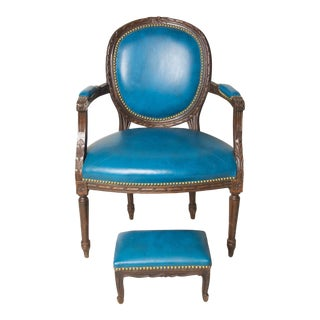Early 20th Century Vintage Fauteuil in Blue Leather Chair & Footstool For Sale