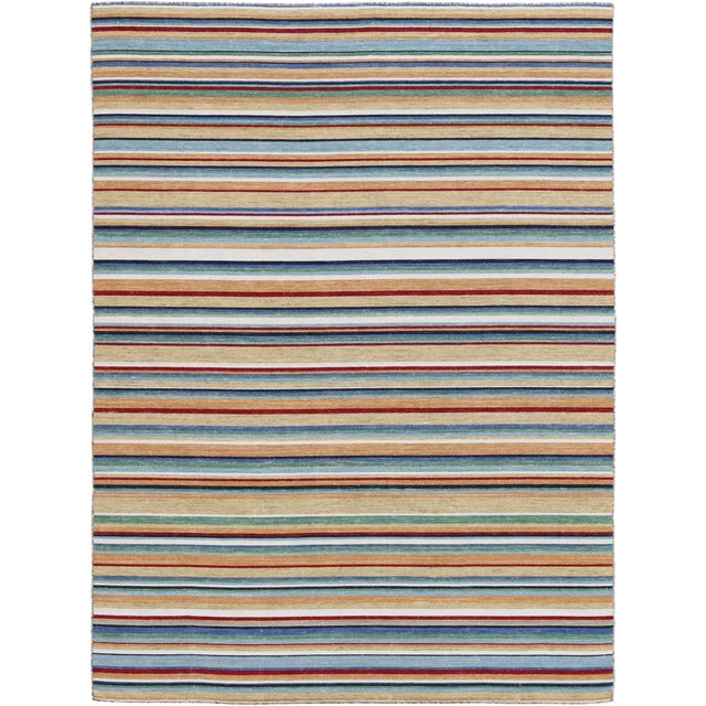 Elana Striped Camel Flat-Weave Rug 4'x6' For Sale