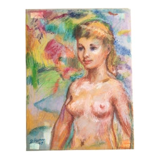1969 Alfred DiCesare Fluorescent Pastel Nude Drawing For Sale
