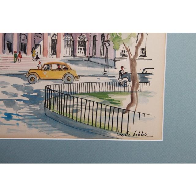 New York City Scape Original Mid Century Watercolor - Image 4 of 9