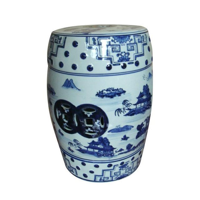 Asian Contemporary Blue and White Landscape Porcelain Garden Stool For Sale - Image 3 of 3