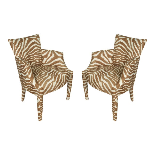 Vintage Zebra Linen Fabric Donghia Chairs - a Pair For Sale