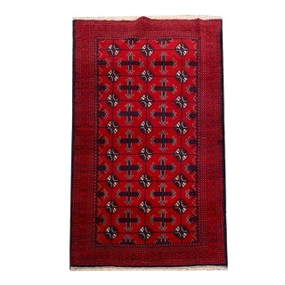 Turkoman Style Tribal Hand-Knotted Red Rug - 3′5″ × 5′10″ For Sale