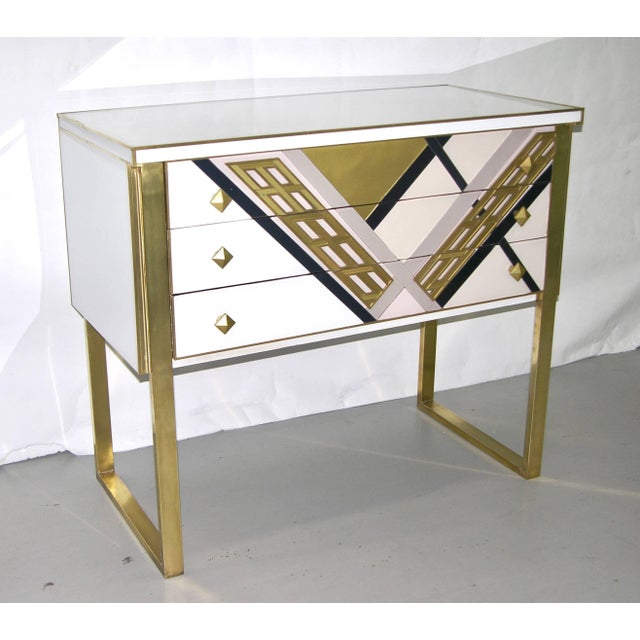 1990s 1990s Italian White Black and Gold Chest Sideboard on Brass Legs For Sale - Image 5 of 10