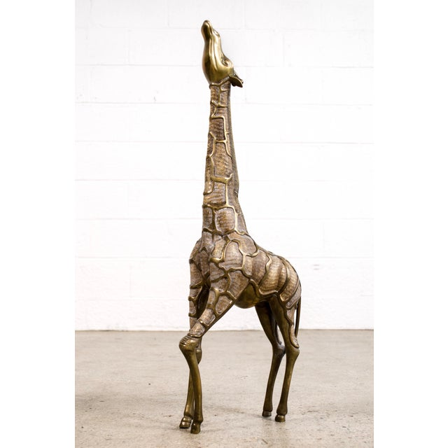 Large Mid Century Brass Giraffe Floor Statues For Sale In Detroit - Image 6 of 11