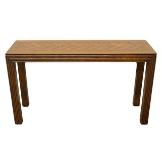20th Century Country Henredon Furniture Oak Sofa Table For Sale