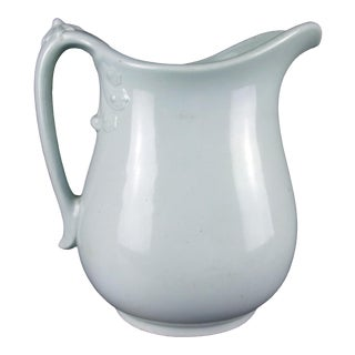 Late 19th Century English Antique White Ironstone Pitcher For Sale