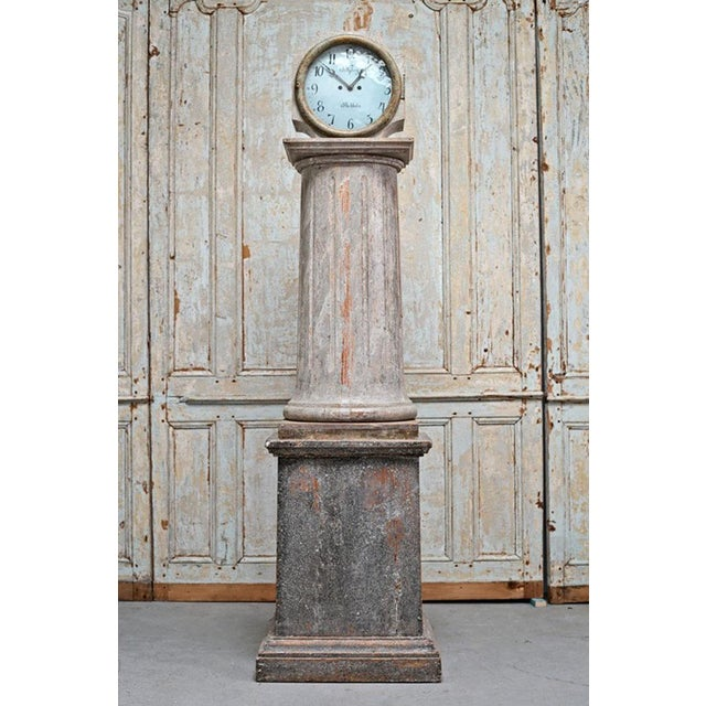 Metal 18th Century Swedish Neoclassical Working Long Case Clock in Original Paint For Sale - Image 7 of 8