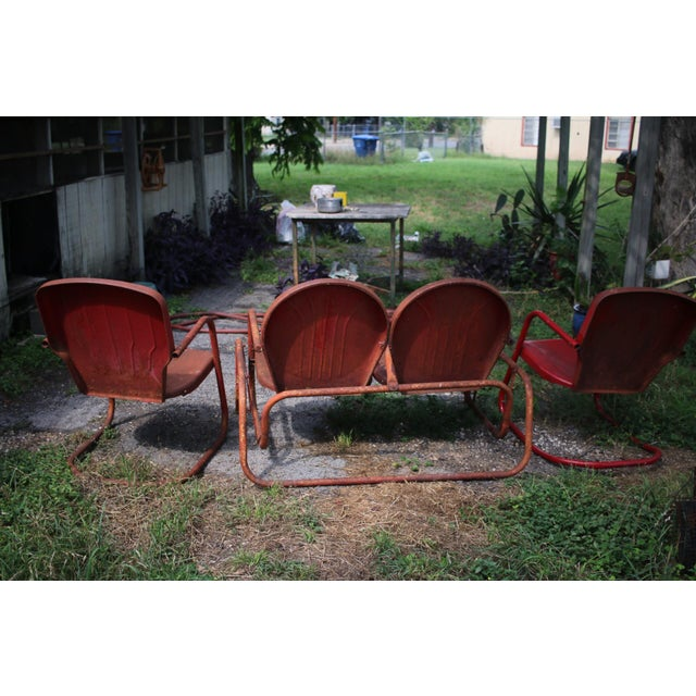 Vintage Metal Patio Glider & Two Chairs - Set of 3 For Sale - Image 10 of 10
