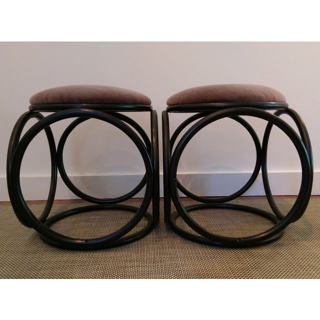 Mohair Thonet-Style Bentwood Ottomans - A Pair - Image 6 of 7