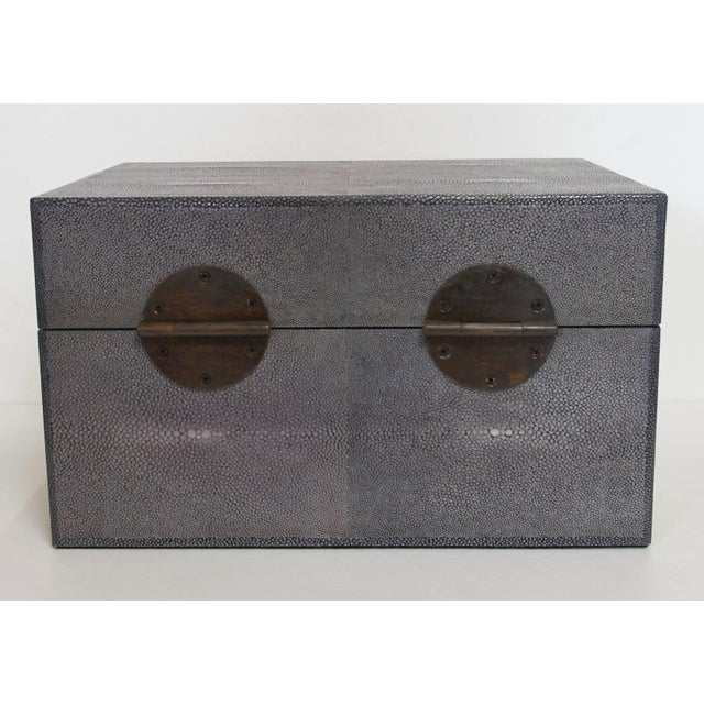 Fabio Ltd Gray Shagreen Wood Box For Sale - Image 4 of 8